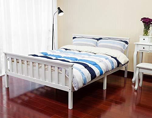 Life Carver®, struttura letto matrimoniale in legno bianco, 135 x 190 cm