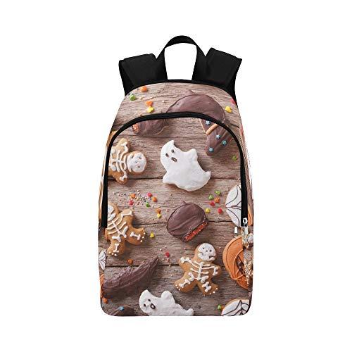 Halloween auf der Tabelle horizontal Stockfoto Zufälliger Daypack Reisetasche College School Backpack für Herren und Frauen ()