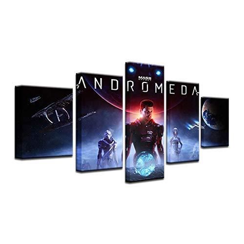 Preisvergleich Produktbild WODES Modulare Bild 5 Stück Spiel Mass Effect: Erde Andromeda Wandkunst Leinwand Malerei Wohnkultur Wandbild Für Wohnzimmer 30 * 40 * 2 30 * 60 * 2 30 * 80Cm Kein Rahmen