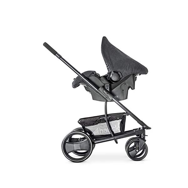 Hauck Pacific 4 Shop N Drive, Lightweight Pushchair Set with Group 0 Car Seat, Carrycot Convertible to Reversible Seat, Footmuff, Large Wheels, From Birth to 25 kg, Melange Charcoal Hauck  13