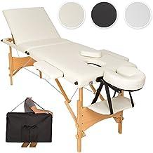 TecTake Camilla de masaje mesa de masaje banco 3 zonas plegable + bolsa - disponible en diferentes colores - (Beige | No. 401465)