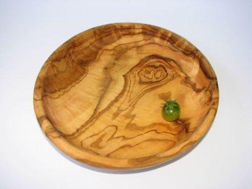 Plato redondo (lamamma. Diámetro 19cm). Tallado a mano de madera de olivo. Original figura de Papá Noel calidad.