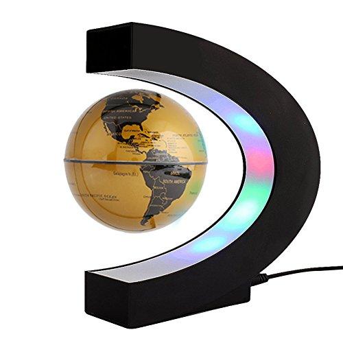 ZJchao Forma C de Globo Flotante de levitación magnética para decoraciòn en Oficina y casa (Amarillo)