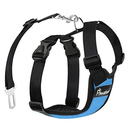 Pawaboo Cinturón de Arnés de Chaleco de Seguridad para Perros, Mascotas Arnés de Coche de Malla con Correa Ajustable para el Conductor, Talla M - Azul