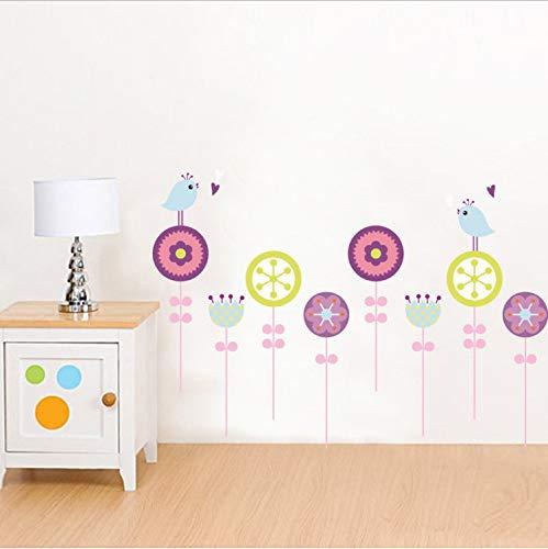 ufkleber Lutscher Blumen Vögel Cartoon S Traum Sockelleiste Sockelleiste Kinderzimmer Schlafzimmer Korridore Abnehmbare dekorative Aufkleber ()