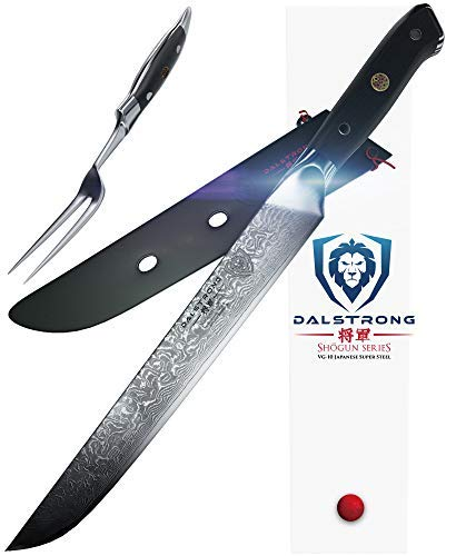Dalstrong Filetiermesser und Fleischgabelset - Shogun Series - AUS-10V - (Vacuum Treated) - Carving Knife & Fork Set 23 cm - Mit Messerscheide Wusthof Carving Set