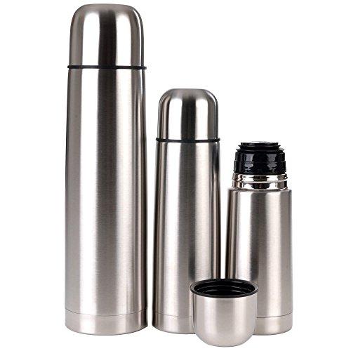 GRÄWE Thermo-/Isolierflaschen aus Edelstahl 3er Set - 3 Vakuum-Trinkflaschen 0,35 / 0,5 / 1 Liter, spülmaschinenfest, bruchfest, geschmacksneutral
