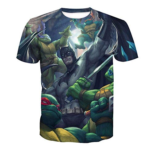 Nouxh Herren T-Shirts Sommer O-Neck Rundhals Tee Unisex 3D Druckten Stretch Slim Fit Basic Shirt beiläufige Kurzarm Polyester+Baumwolle Teenage Mutant Ninja Turtles (Kleidung Mutant Teenage Turtles Ninja)