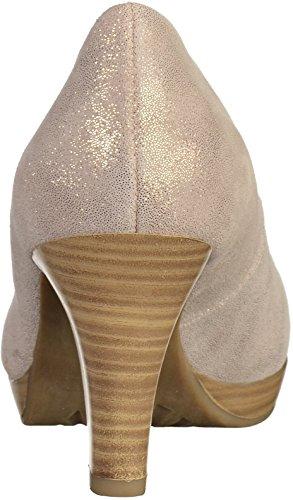 Signore pompe MARCO TOZZI 2-22448-412 pelle metallizzata duna Beige(Dune)
