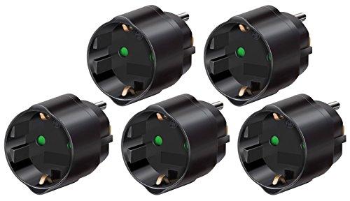 5 Steckdose Adapter (Brennenstuhl Reisestecker/adapter 5er Packung, Schutzkontakt für USA, Mexiko, Kanada, Dominikanische Republik usw..schwarz, 1508550)