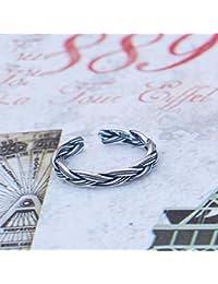 Axiba Uomini Anello Anelli Signora di Temperamento Semplice S925 Argento Argento Thai retrò torcere Graduazione di Anello Invia Amico parenti Compleanno Regalo-dallo a Qualcuno Che ami