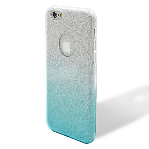 Custodia per iPhone 6/6S, Case Cover per iPhone 6/6S 4.7, [ Soft TPU + Glitter Paper + Hard PC ] 3 in 1 Hybrid Layers Protection Back Cover, Silm Thin (Verde) Skin Cases per Apple iPhone 6S 6 (4.7 in Azzurro