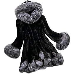 "Venmo Abrigos de la Mujer, Largo Manga Parka del emulational Abrigo de Piel Zorro, Talla Grande (Artificial) (Negro, L -Busto:94cm/37.0"")"