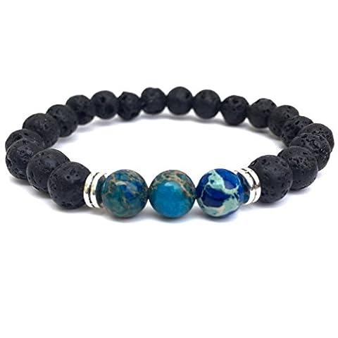 GOOD.designs Energiearmband aus Lava- / Onyx-Natursteinen, Chakra-Armband mit marmorierten Perlen in verschiedenen Farben (Lava / Blau / Spacer Silber)