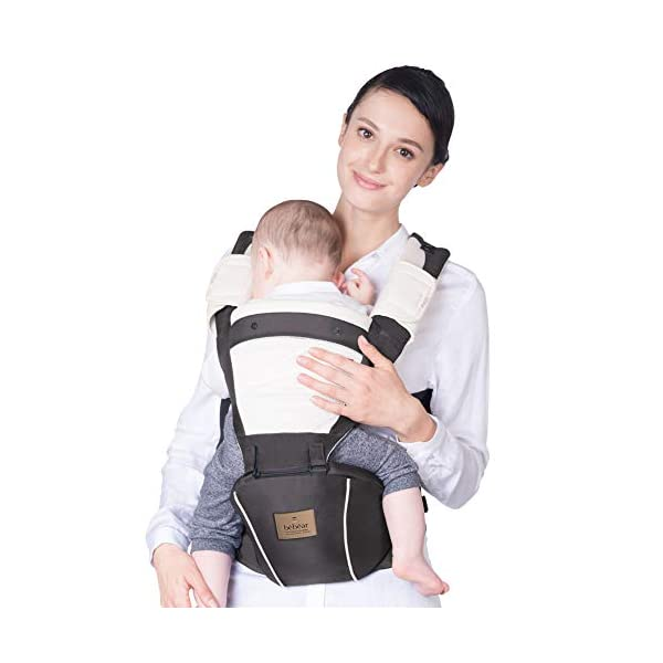 Bebamour Hipseat Baby Carrier Backpack 5 in 1 Carry Ways Carrier Sling (Grey) bebear  2