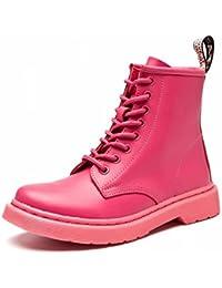 Martin Botas Mujer Mujer Botas Cinturón Plano Locomotora Zapatos de Mujer Británica Botas Zapatos Blancos Pequeños...