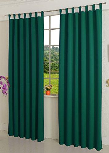Verdunklungsgardine blickdicht, 1 Stück 245x135 (HxB), Grün Schlaufen Thermo Vorhang Gardine Verdunklungsvorhang Blackout, 206000
