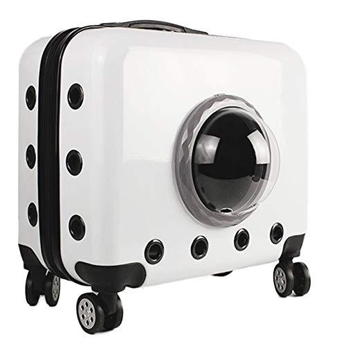 LCLZ Raum-Haustier-Trolley-Kasten-Multifunktions-beweglicher Haustier-Kasten-Universalrad-Trolley-Kasten-Haustier-Beutel Atmungsaktiv (Farbe : White) -