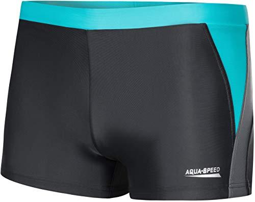 Aqua Speed® Dario Herren Badehose | Schwimmhose | S-XXXL | Modern | Vita Gewebe UV-Schutz | Chlor resistent | Kordelzug | Muskelkontrolle, Größe:XL, Farbe:Grey/Light Grey/Turquoise -