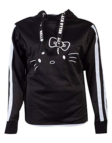 Difuzed Hello Kitty Ladies Hooded Sweater Side Buttons Size L Sanrio Pullover (Button Sweatshirt Hooded)