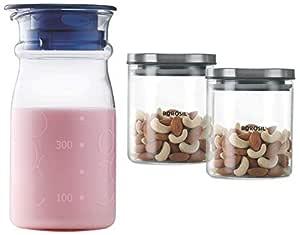 Borosil Classic Glass Jar for Kitchen Storage, Set of 2, (600ml + 600ml) & Marina Jug with Lid, 600ml, Transparent Combo