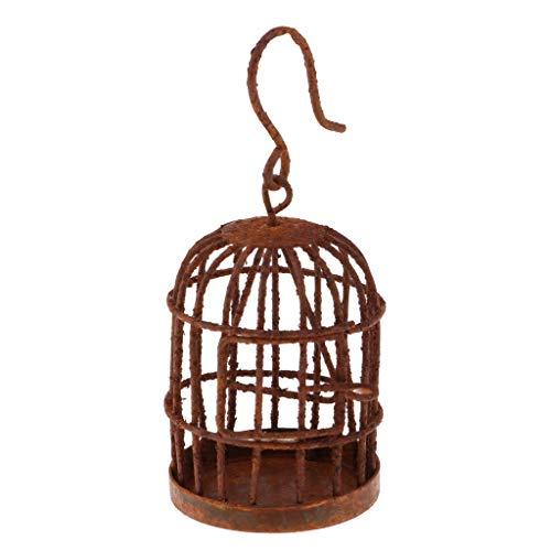 Fenteer 1: 6 Puppenhaus Gartendeko - Mini Metall Vogelvoliere Vogel Käfig Mit Aufhänger - Bronze