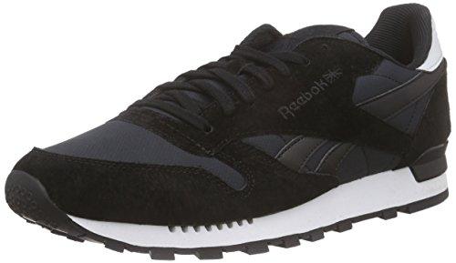 Reebok Classic Leather Re Clip, Chaussures de Course Homme Noir - Schwarz (Black/White/Steel)