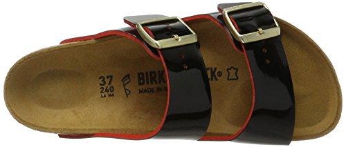 Birkenstock - Arizona Birko-flor, Pantofole Donna Schwarz (Lack Two Tone Black)