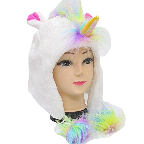 Einhorn Unicorn Regenbogen Mütze mit farbigen bommeln aus weichen Stoffbezug flauschig super warm...