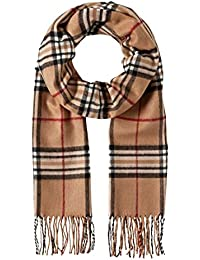 Vincenzo Boretti Scarf, classic - checked - fringed, cashmere like for men and women