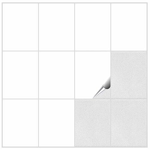 Fliesenaufkleber für Bad und Küche - 15x20 cm - weiss matt - 150 Fliesensticker für Wandfliesen