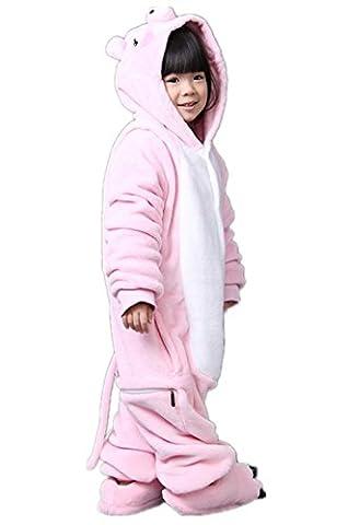 Padgene Pyjama Combinaison Animaux Cosplay Costumes Halloween Enfant Unisexe (cochon,taille 115)