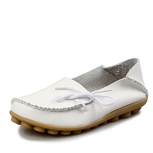 Fisca - Mocassins Pour Femmes, Style Décontracté, Chaussures Plates Blanc (blanc)