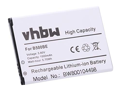 vhbw Li-Ion Akku 1500mAh (3.7V) für Handy Samsung Galaxy S4 Mini, Serrano, GT-I9190, GT-I9192, GT-I9195, SGH-I257 wie B500, B500BE, B500BU.