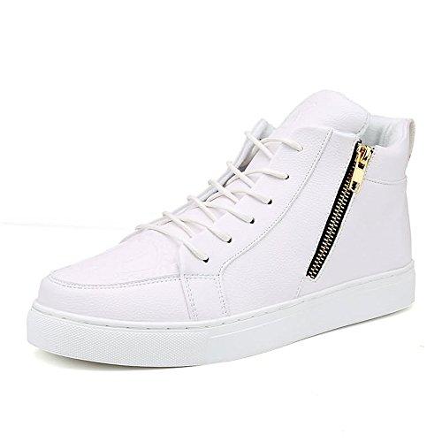 Scarpe da Ginnastica Sneakers Moda Uomo e Donna Stile Casual Tinta Unita Tinta Unita Tinta Unita Misura Grande con Porta Scarpe da Skateboard Scarpe Sportive (Color : Bianca, Dimensione : 42 EU)