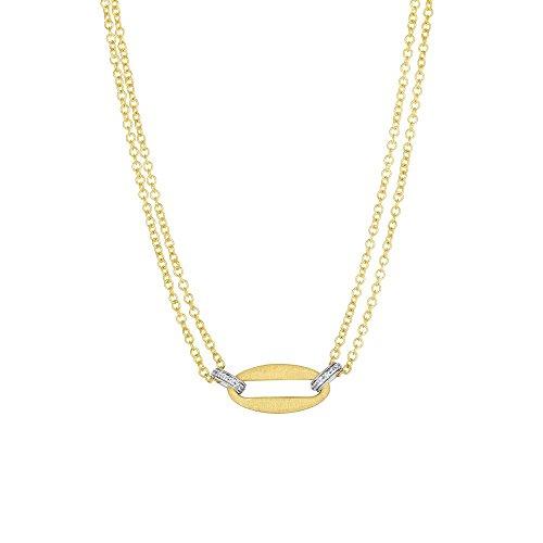 14ct Gelb Gold 4–10,2mm matt L Offene Center Elem .012ctdiamond doppelt Strand Halskette–43Cent