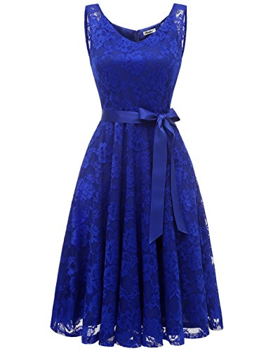 AONOUR AR8008 Damen Floral Spitze Brautjungfern Party Kleid Knielang V Neck Cocktailkleid Royalblue...
