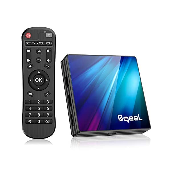 Bqeel-Android-90-4G64G-TV-Box-Bluetooth-40-R1-Plus-RK3318-Quad-Core-64bit-Cortex-A53-USB-30-Box-Android-TV-LAN100M-Wi-FI-24G5G-Box-TV-4K-Android-TV
