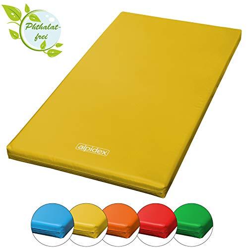 ALPIDEX Matte Turnmatte Sportmatte Gymnastikmatte 200 x 100 x 8 cm mit Antirutschboden RG 20 (sehr weich), Farbe:gelb