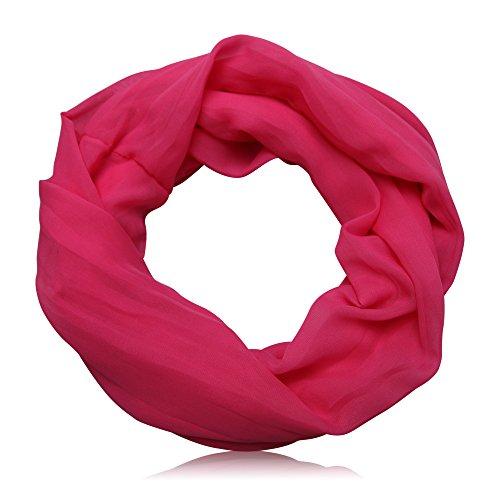 ACC Damen Seide Loop Schal leicht unifarben (pink) (Damen Seide Schals)