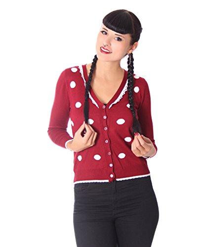 SugarShock Damen Cardigan Liljana Polka Dots Rockabilly Weste, Farbe:weinrot, Größe:OneSize