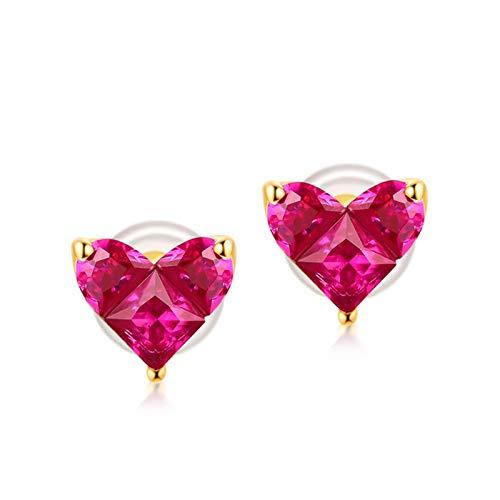 Epinki 925 Silber Ohrringe für Damen, Herz Ohrschmuck Damenohrringe mit Rot Cubic Zirkonia - Gold