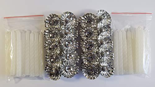 20 Metall Silber Klemmen Clip Weihnachtsbaum Kerzenhalter und 20 Weiß Kerzen