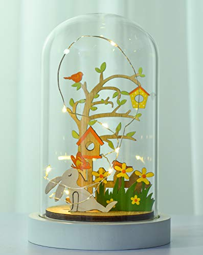 Victor's Workshop Osterdeko LED Glaskuppel Glasglocke mit Holzboden 19cm Höhe Frühlingsdeko Micro Draht Lichterkette...