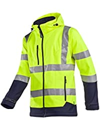 Sioen 9933Plateau a2tu1803l Plus laminé haute visibilité Veste en Softshell avec capuche détachable, grand, jaune/bleu (Lot de 5)
