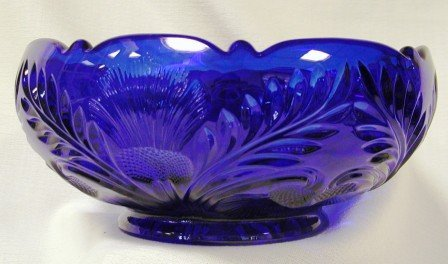 9 Cobalt Blue Glass Inverted Thistle Pattern Bowl by Inverted Thistle -