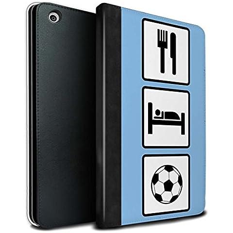 STUFF4 PU Pelle Custodia/Cover/Caso Libro per Apple iPad Mini 1/2/3 tablet / Calcio/Blu / Mangiare/Sonno disegno