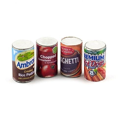 MyTinyWorld Dolls House Miniature Set of 4 Food Cans
