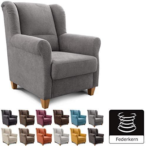 Cavadore Sessel Finja mit Federkern / Ohrensessel im modernen Landhausstil / passender Hocker separat erhältlich / 87 x 102 x 96 / Webstoff Grau