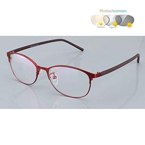 HQMGLASSES Farbwechselnde Lesebrille, asphärische HD-Spiegel-Metallrahmen-Sonnenbrille / UV400-Blendschutz 1,0 bis 3,0 für Männer und Frauen,03,+300